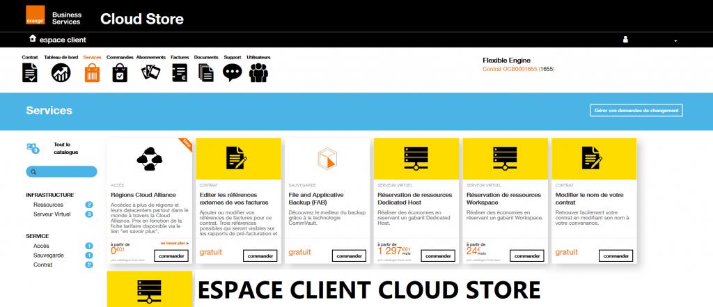 Espace client Cloud Store